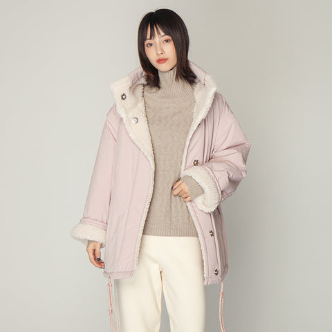 Reversible drawcord patchwork sherpa coats