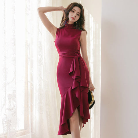 Ruffled mock neck belted bodycon dresses