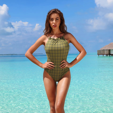 Crew neck sleeveless one-piece swimwear