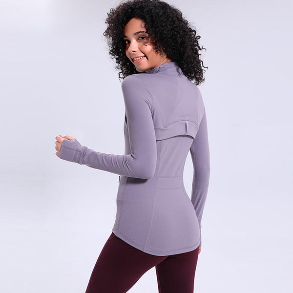 Elastic tight zip-up fitness sport jackets