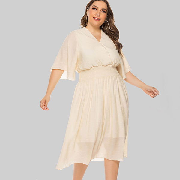 Plus size v-neck elastic waist dresses - Fancyever