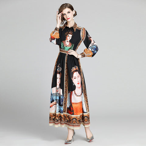 Portrait print retro lapel gathered waist maxi dresses