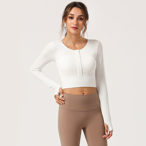 Crew neck cropped sport tops