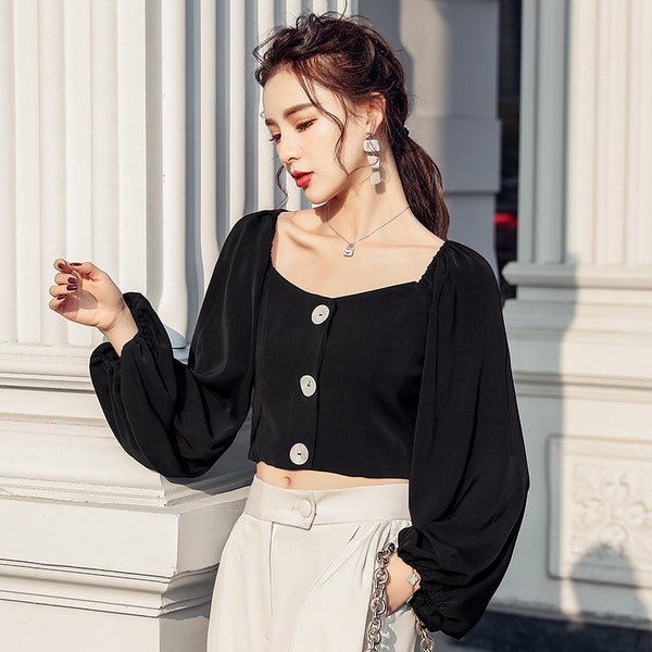 Square neck solid color lantern sleeve blouses