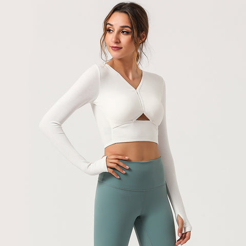 V-neck openwork cropped sport tops