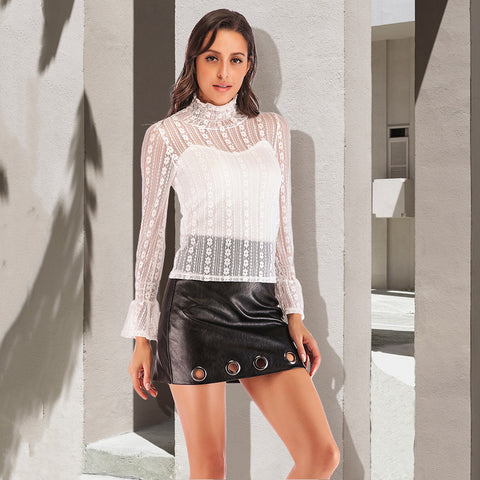 Lace ruffel perspective blouses