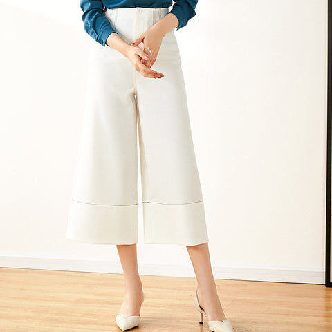 Top stitched cropped palazzo pants