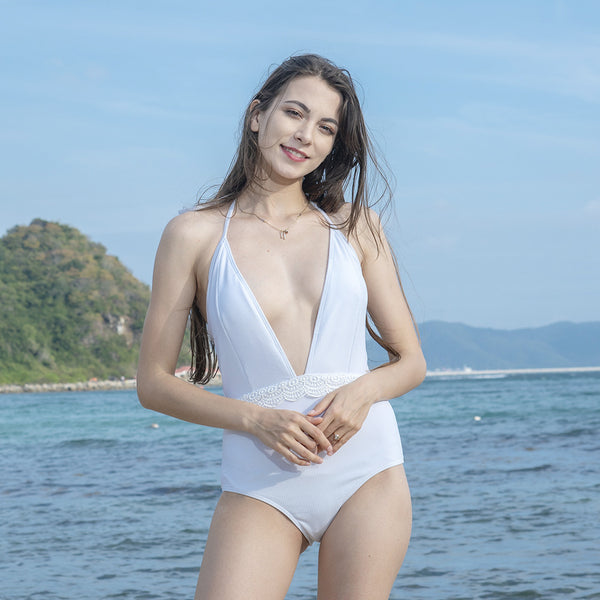 Pluning halter solid one-piece swimwear