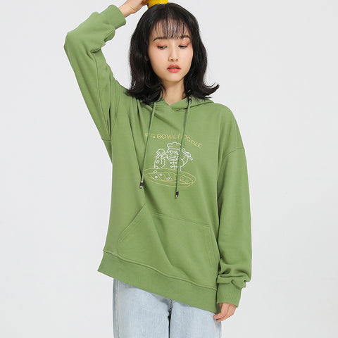 Cotton embroidered loose hoodies