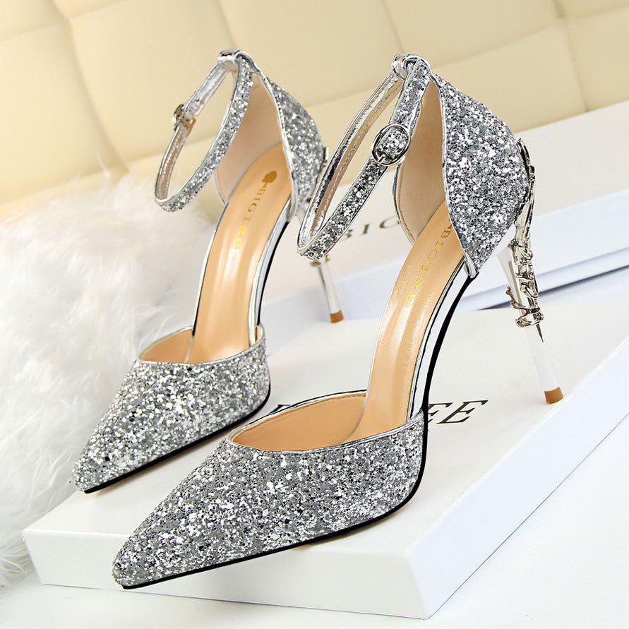 Ankle-strap fastening sequin high heels