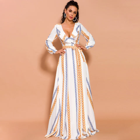 Striped ruffled belted high slit maxi dresses