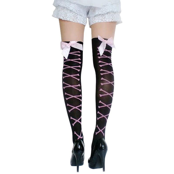 3 pairs thigh high bowknot stockings