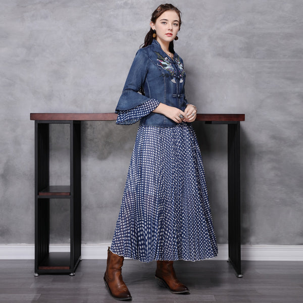Patchwork ruffled retro pleated skirt suits