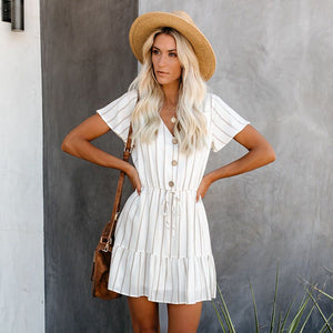 V-neck striped gathered waist dresses