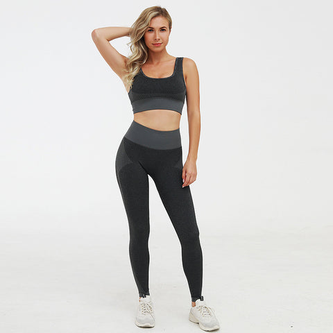 Color block knitted compression active top & bottom sets