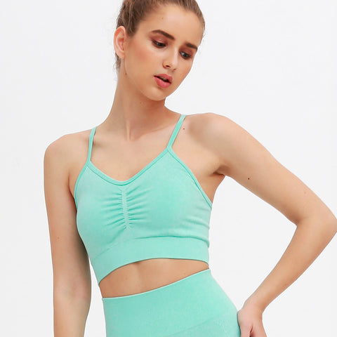 Ruched halter pullover sports bras