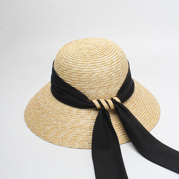 Bowknot wheat straw round wide brim hats