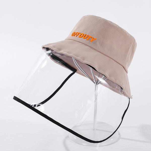 Letter print bucket hats with detachable face masks