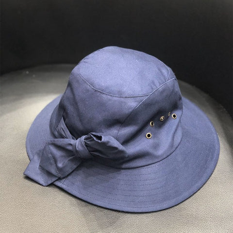 Cotton bowknot breathable bucket hats