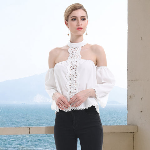 Open shoulder halter neck blouses