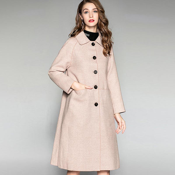Wool blended single-breasted cocoon coats