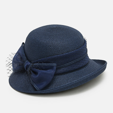 Bowknot mesh straw wide brim hats