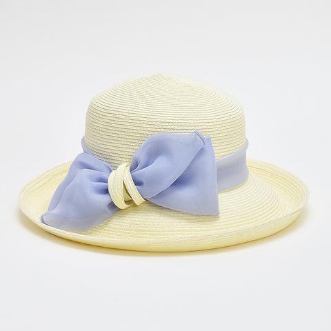 Bowknot straw flat wide brim beach hats