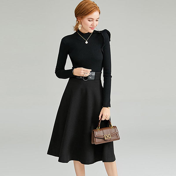 Ruffled knitted sweaters & midi skirts - Fancyever