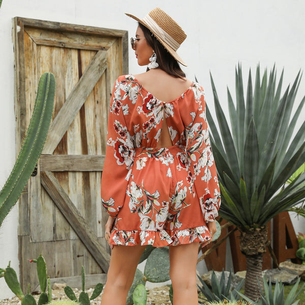 Boho floral ruffle cut out jumpsuits