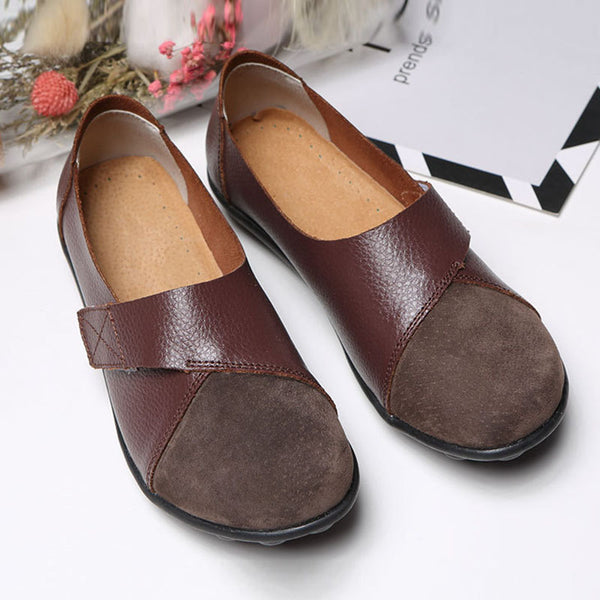 Velcro soft stitching leather loafers