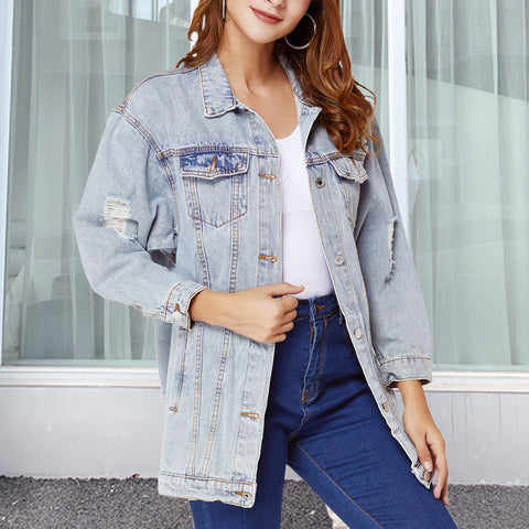 Long ripped denim jackets