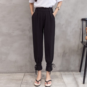Ankle tied harem pants with pockets