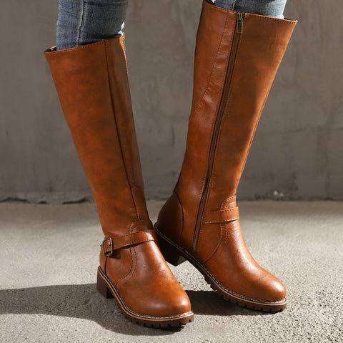 Pin-buckle PU leather zipper winter boots
