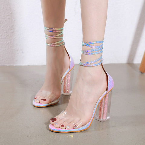 Ankle-strap fastening chunky heel sandals