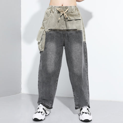 Oversize patchwork wide leg jeans with zipper