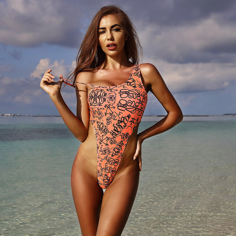 Off the shoulder print one-piece swimwear