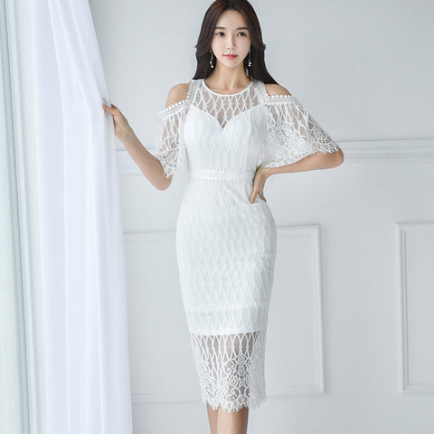 Openwork lace perspective bodycon dresses