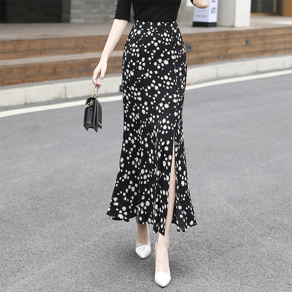 Plus size print side slit midi skirts