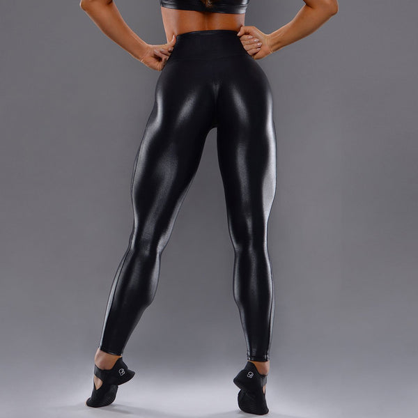 High waisted leather active pants