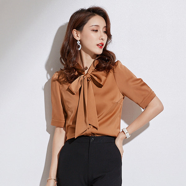 Tie front solid office blouses