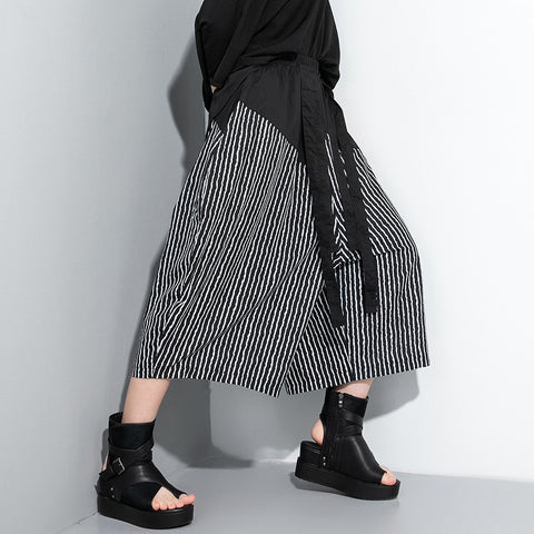 Striped patchwork cropped palazzo pants