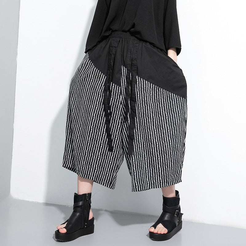 Striped patchwork cropped palazzo?pants