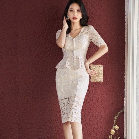 Zip-up lace slim skirt suits