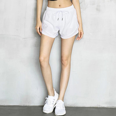 Mesh drawcord irregular active shorts