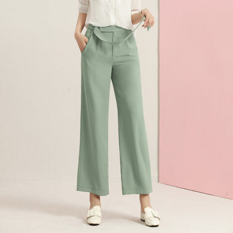 Belted gathered waist wide leg pants