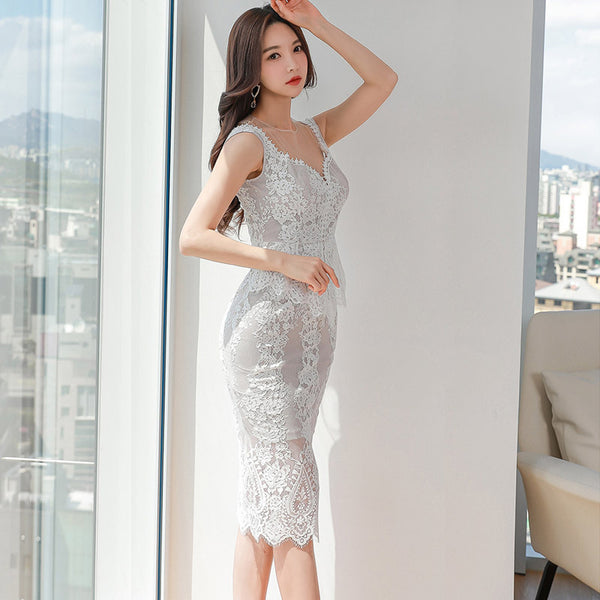 Sexy lace sleeveless bodycon dresses