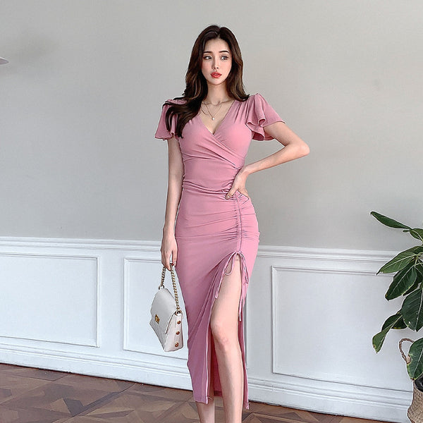 Ruched drawcord high slip wrap midi dresses