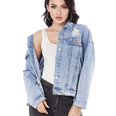 Ripped button down denim jackets
