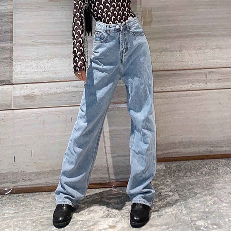 Blue high waisted denim straight pants