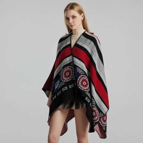 Striped jacquard cape shawls